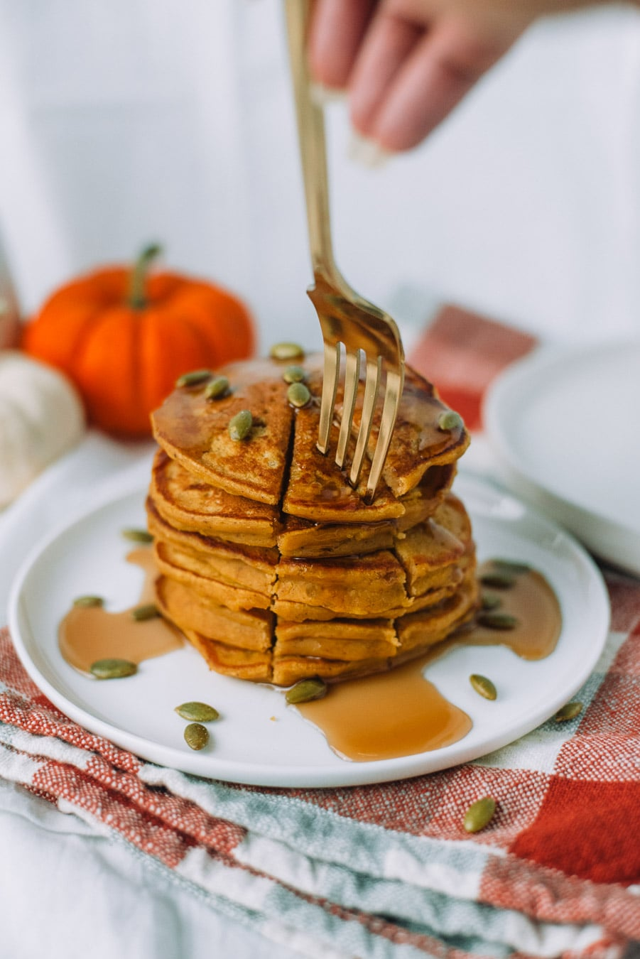 Stack of Easy Pumpkin Pancakes with a Fork