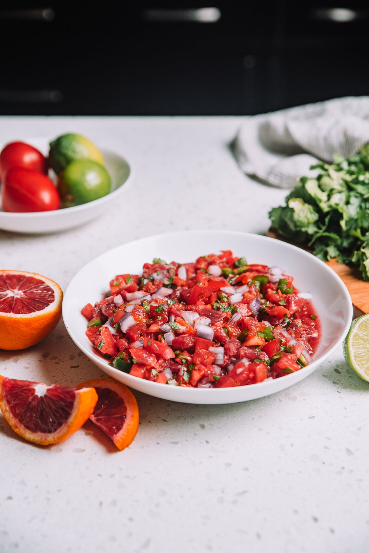 Bowl of Chunky Blood Orange Salsa in a white bowl