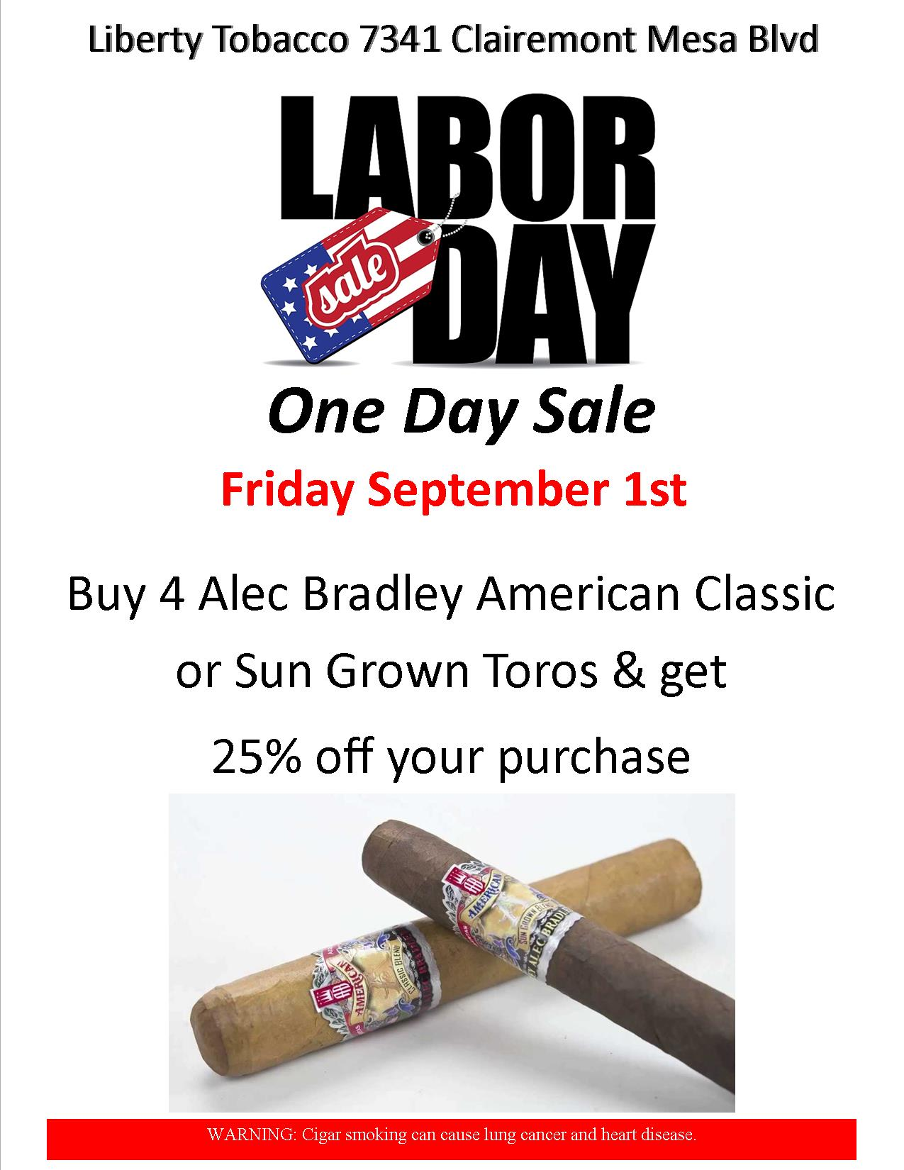 Labor Day One Day Sale Sept 1st