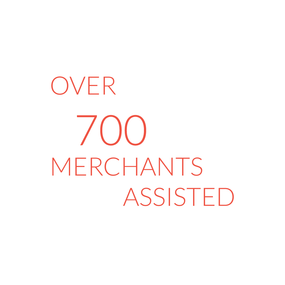 Over 700 merchants assisted