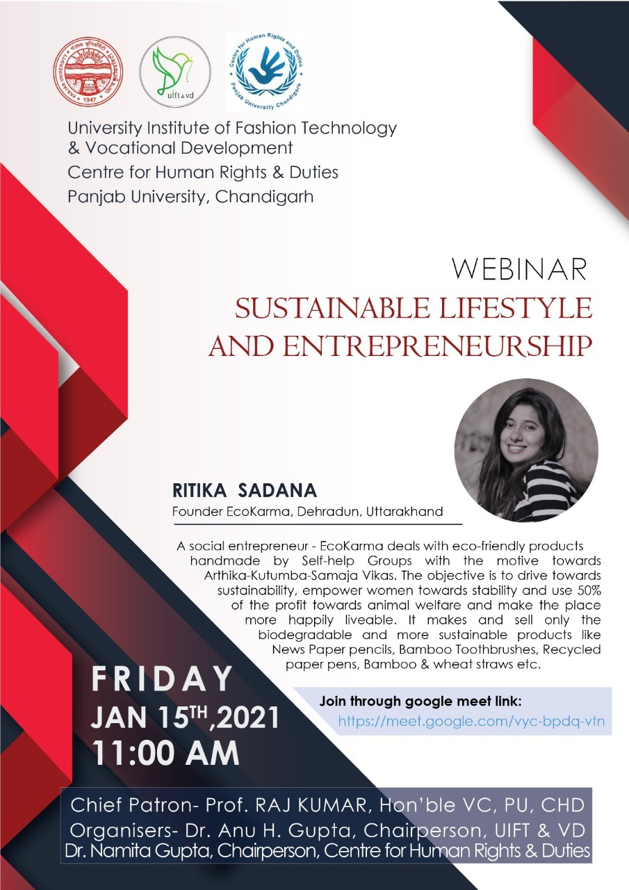 """Webnar-"""" Sustainable Life Style and Entreprenuership"""""""