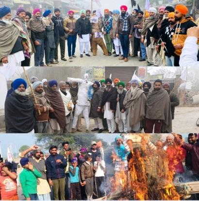 KMSCcontinues protest against 3-Farm Laws even after 100 days, burn effigies in protest