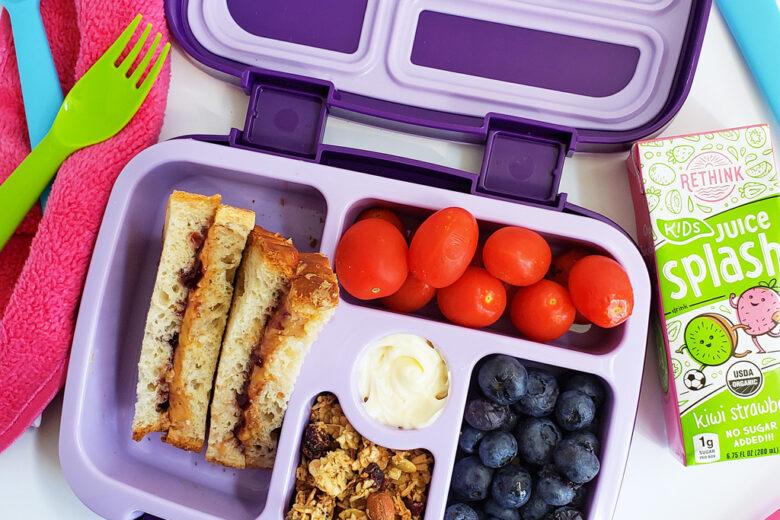 school lunchbox ideas in purple bentgo lunchbox with unicorns