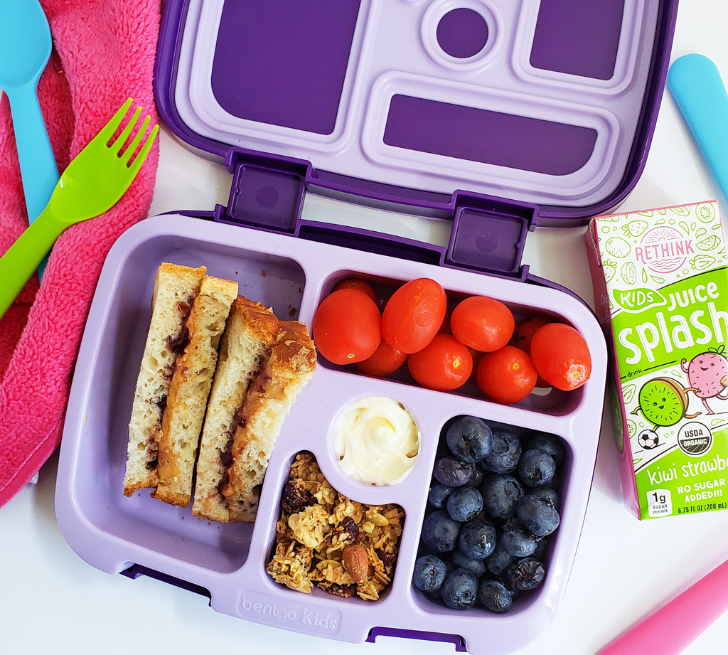 school lunchbox ideas in purple bentgo lunchbox with unicorns