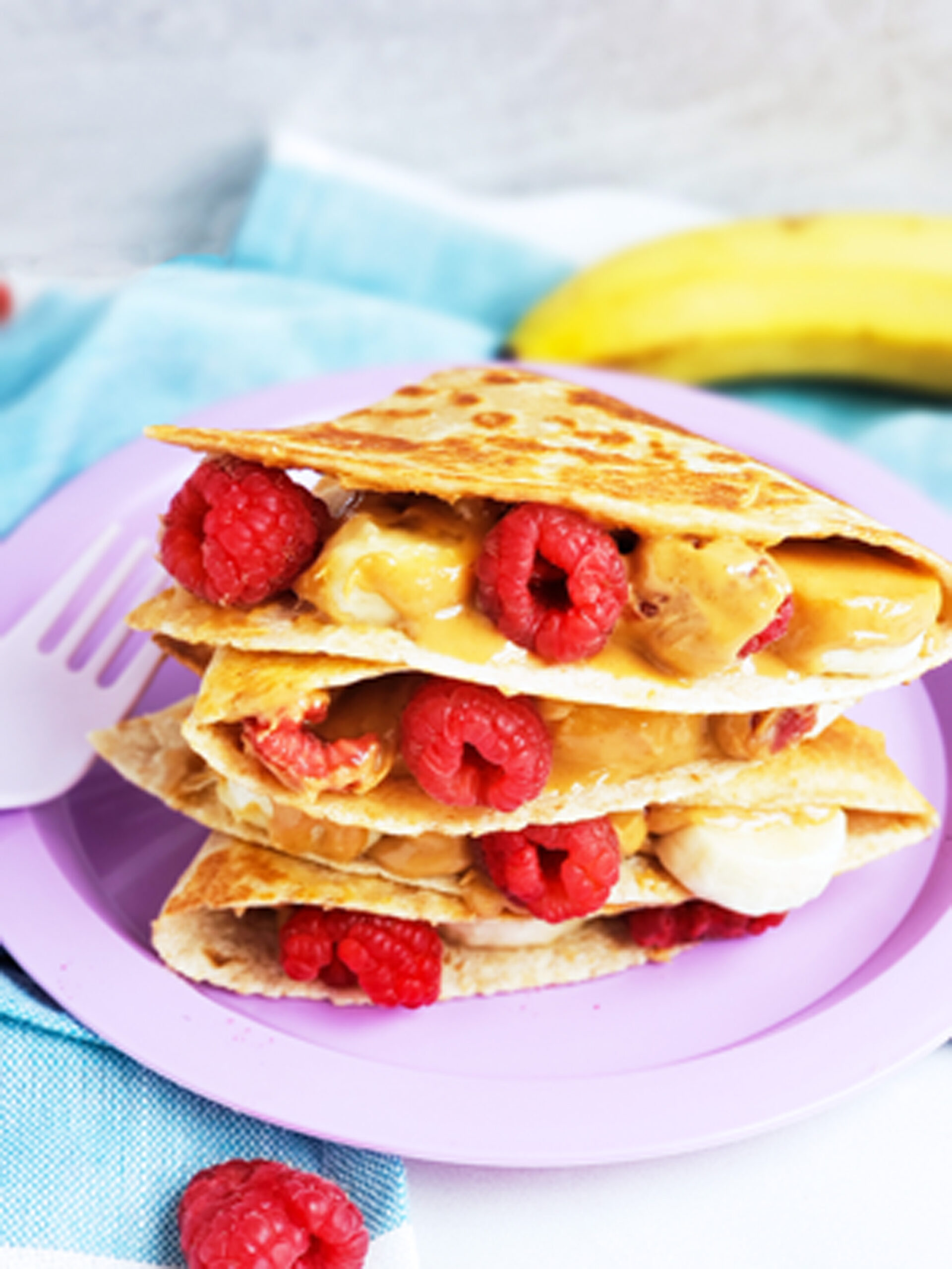 Raspberry, Banana, & Peanut Butter Quesadillas