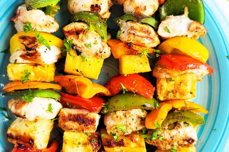 Hawaiian Grilled Chicken & Pineapple Kabobs