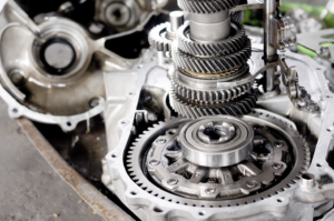 Transmission components being repaired at a shop in West Chicago, Illinois