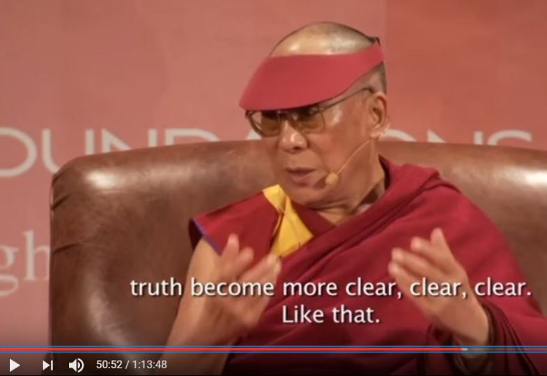 The Dalai Lama makes a seemingly prophetic utterance when he says that transparency will make truth about Keith Raniere clear.