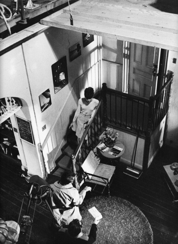 Audrey Hepburn and Alan Arkin during filming