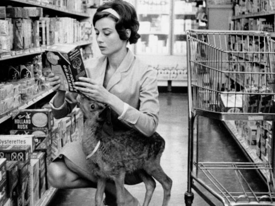 Audrey Hepburn shopping with a fawn