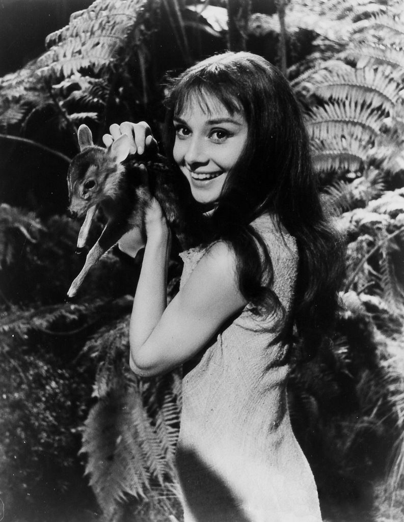 Audrey Hepburn with her baby deer