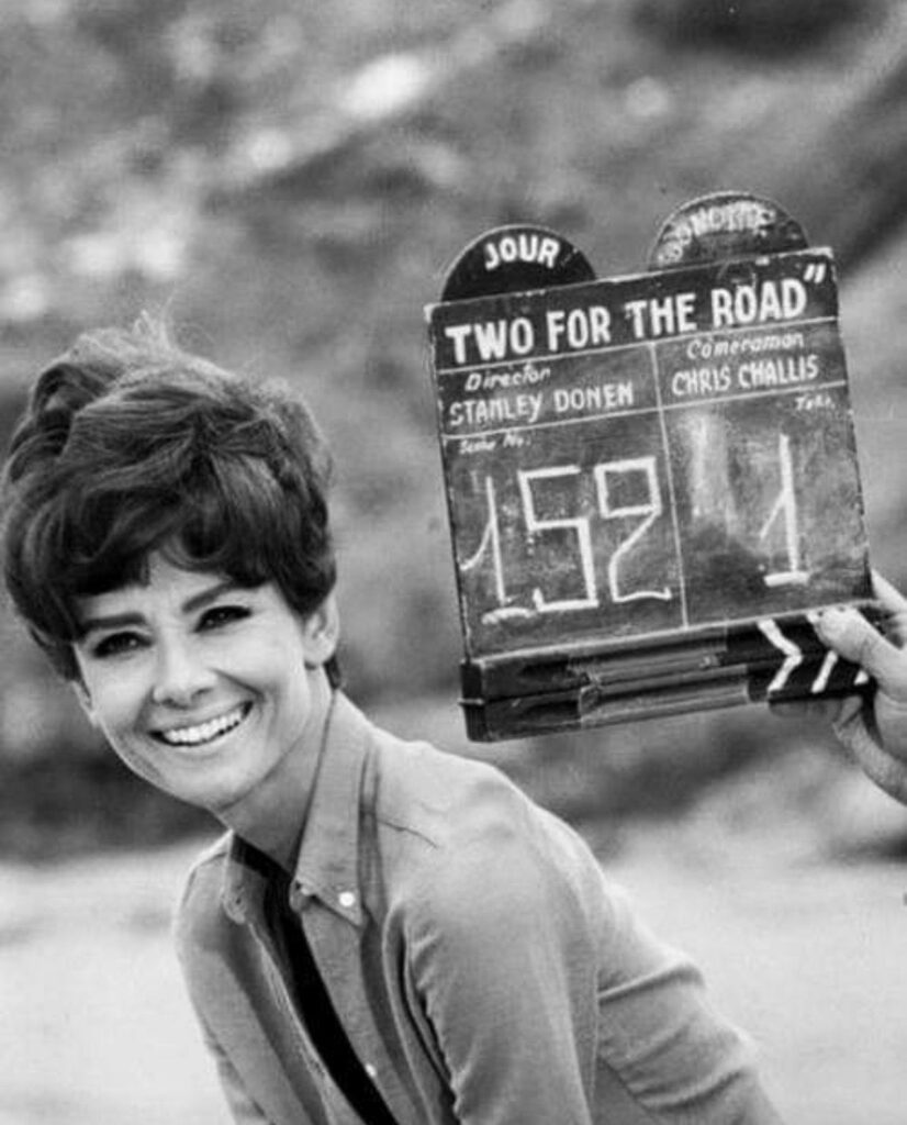 Audrey Hepburn on the set of 'Two for the road'