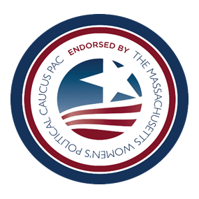 """Logo that reads """"Endorsed by the Massachusetts Women's Political Caucus PAC"""""""