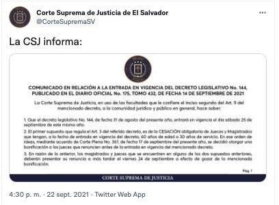 GOBIERNO DE BUKELE PIDE LA RENUNCIA DE 200 JUECES, A MÁS TARDAR ESTE VIERNES.