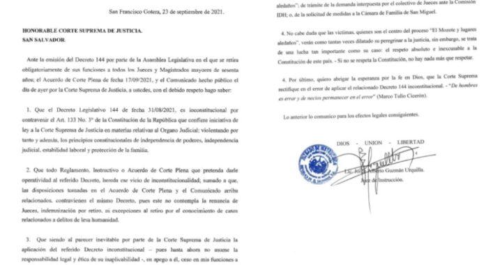 RENUNCIA JUEZ A CARGO DE MASACRE DE EL MOZOTE, TRAS REFORMA JUDICIAL