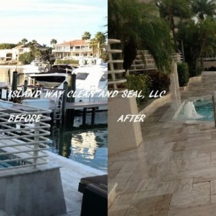 pool and boat dock paver before and after