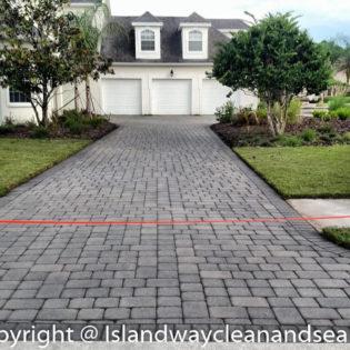 grey brick paver for white Florida home