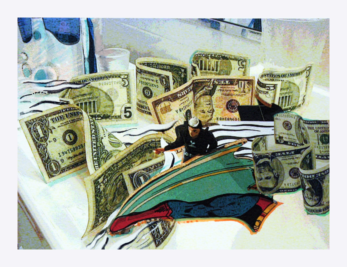 A watercolor painting titled Money Tsunami by Brook Overline
