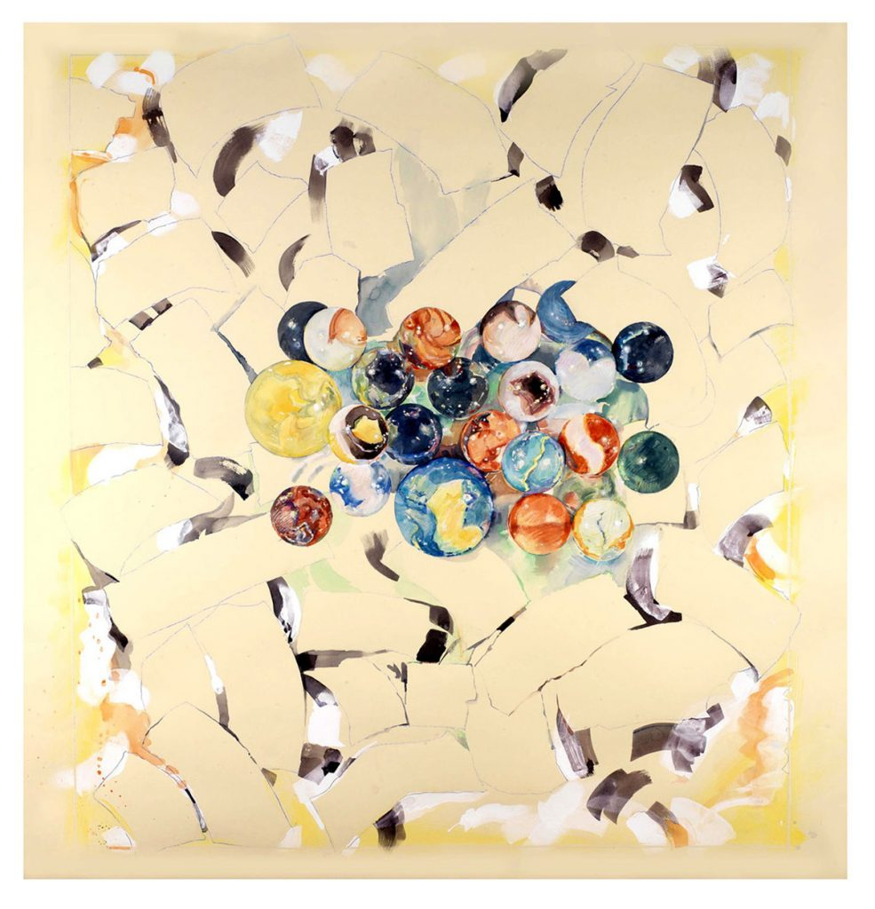 A watercolor painting titled Spinner Jacks by Brook Overline