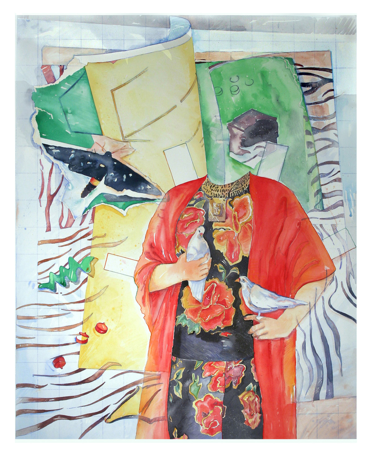 A watercolor painting titled PaperDoll FRIDA woe is me by Brook Overline