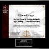 award plaque for Edward Hugo