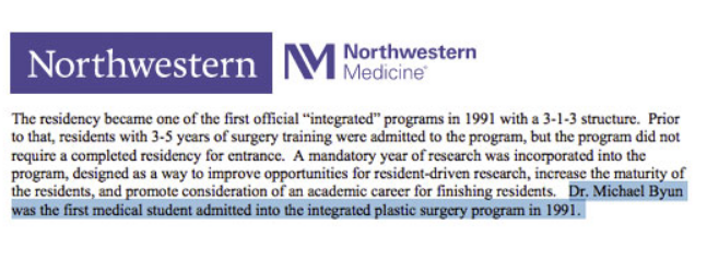 Dr. Michael Byun is a part of the history of plastic surgery at Northwestern