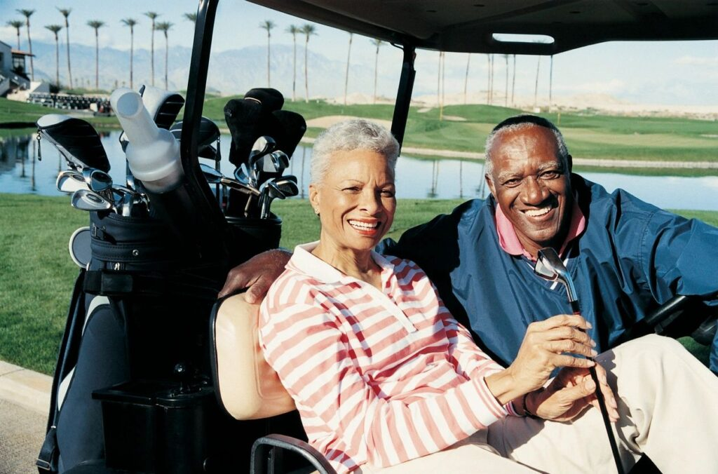 seniors playing golf