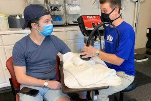 A patient safely receiving neuro-sensory treatment