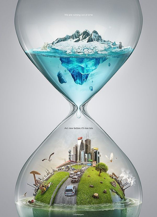 Water-filled hourglass