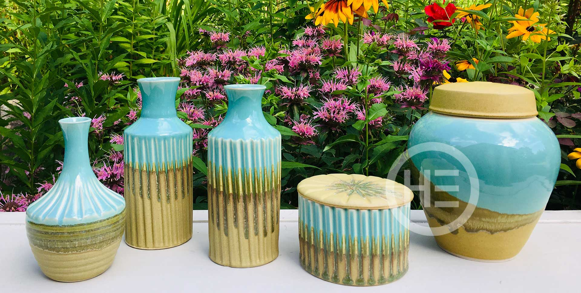 Holliday Pottery vases and jars