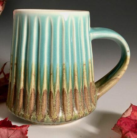 Pottery Turquoise and brown mug