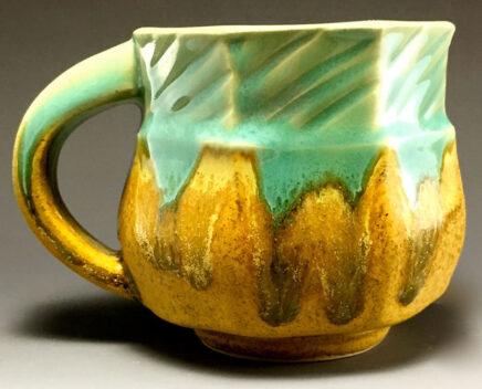 Pottery Turquoise and gold mug