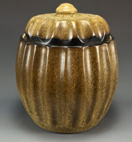 pottery brown covered jar