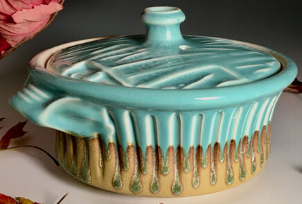 Pottery Turquoise and gold covered casserole