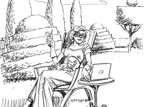 Artist: Lenin Delsol > Style: B&W Pencil> Category: Women, Quirky, Lifestyle
