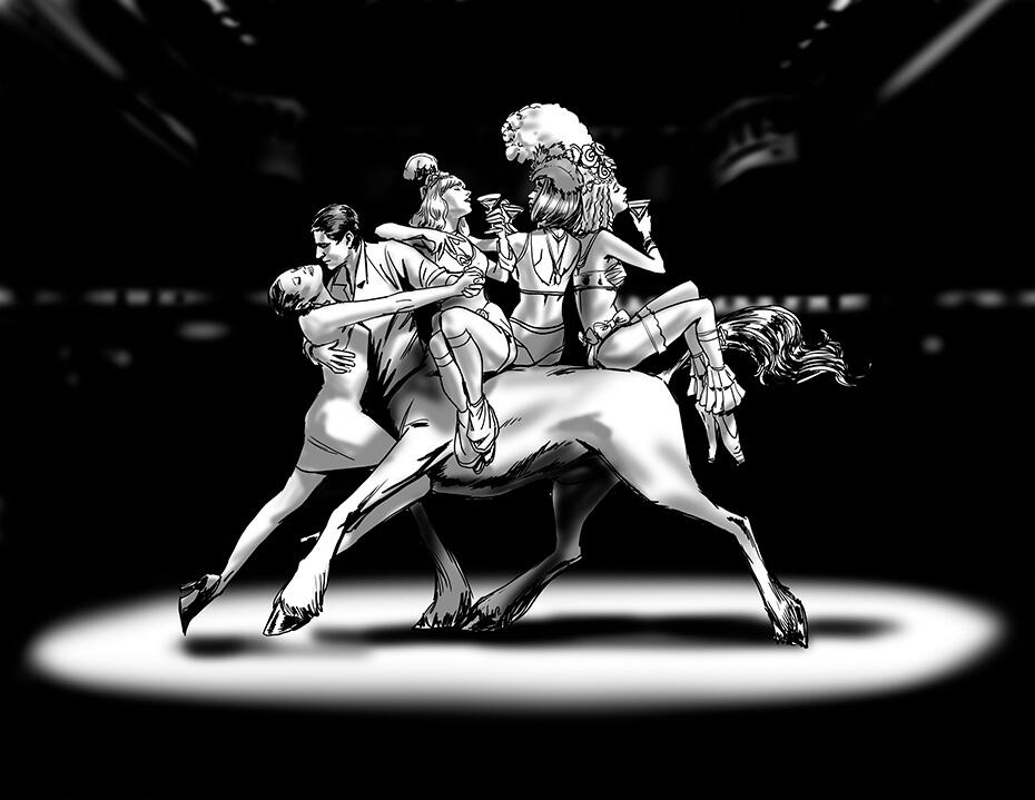 Artist: Lenin Delsol > Style: B&W Noir > Category: Lifestyle, Nightclubs, Lavish Debauchery