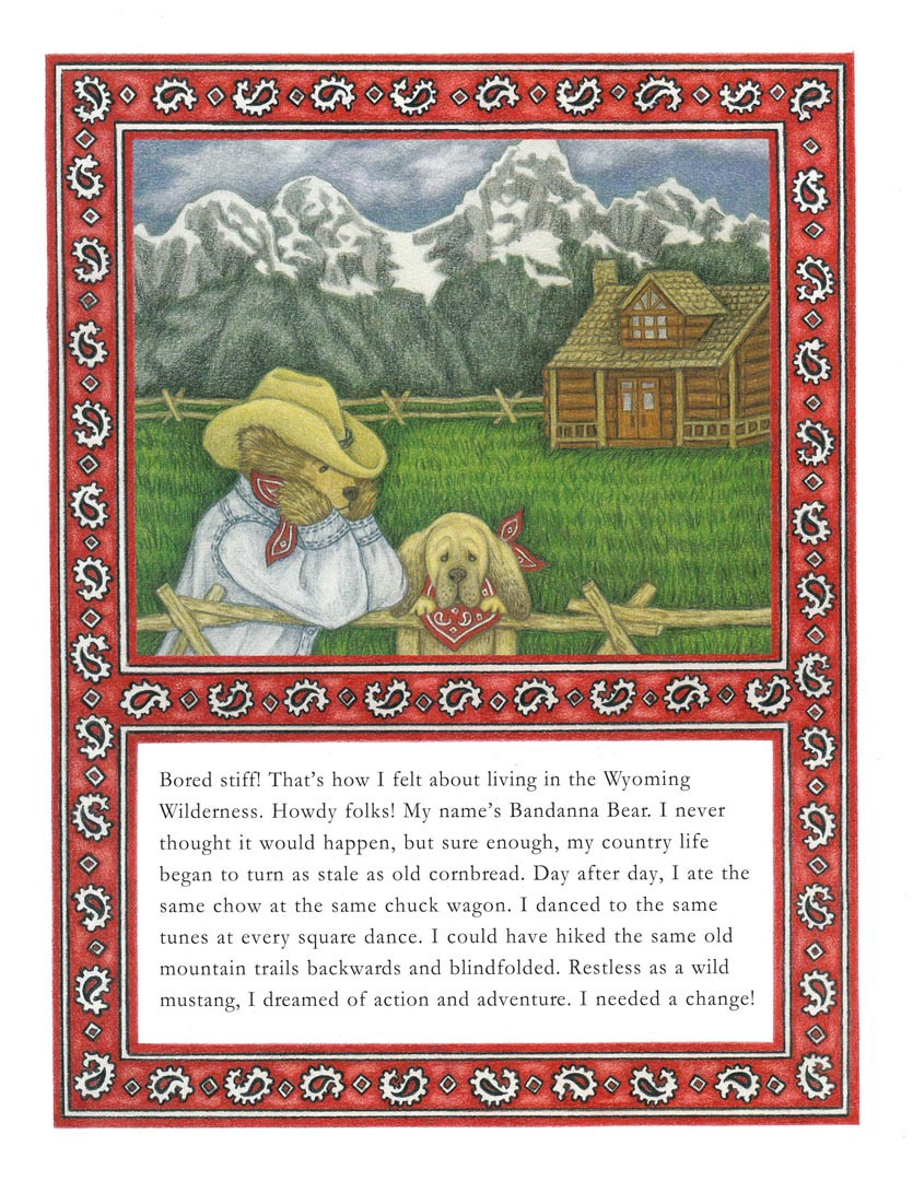 """""""Town Teddy and Country Bear"""" by Kathleen Bart - Sample Page"""