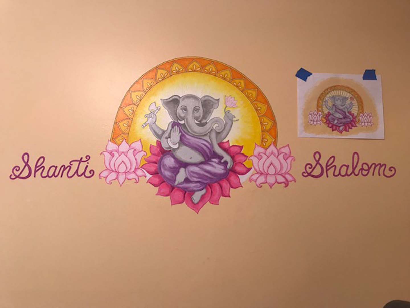 Ganesha Mural - Meditation Room in a private residence