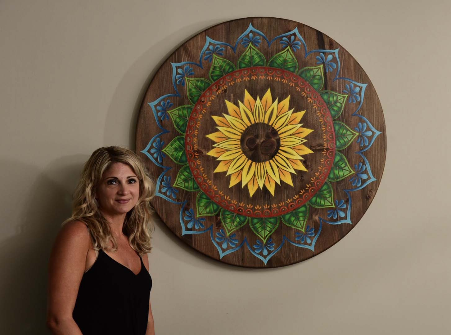 Wood Sunflower Mandala Wall Art