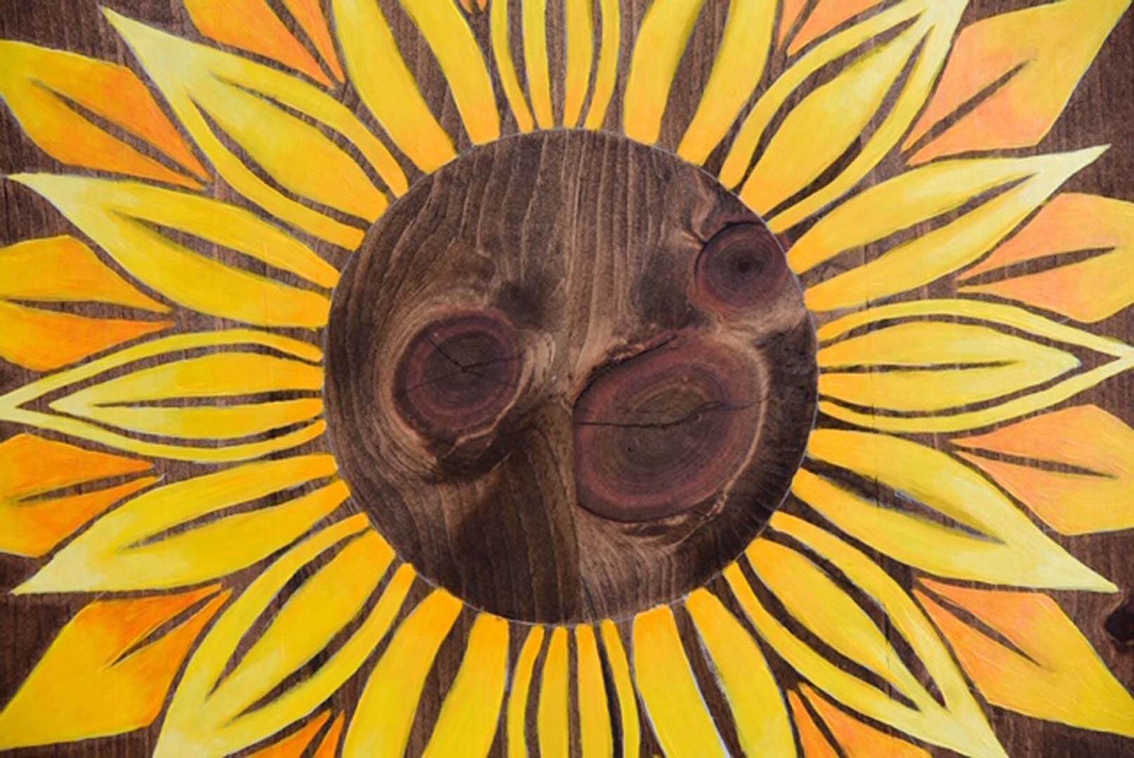Wood Sunflower Mandala Wall Art
