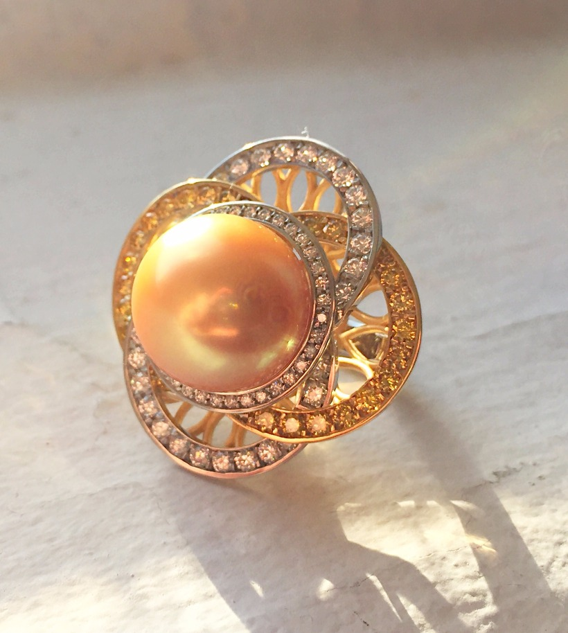 Ring in platinum and 18k yellow gold with a golden South Sea pearl and diamonds by Judy Evans for Oliver & Espig Gallery of Fine Arts; 805-962-8111; gallery@oliverandespig.com [This ring took a third-place prize in the Bridal Wear category of the Spectrum Awards.]