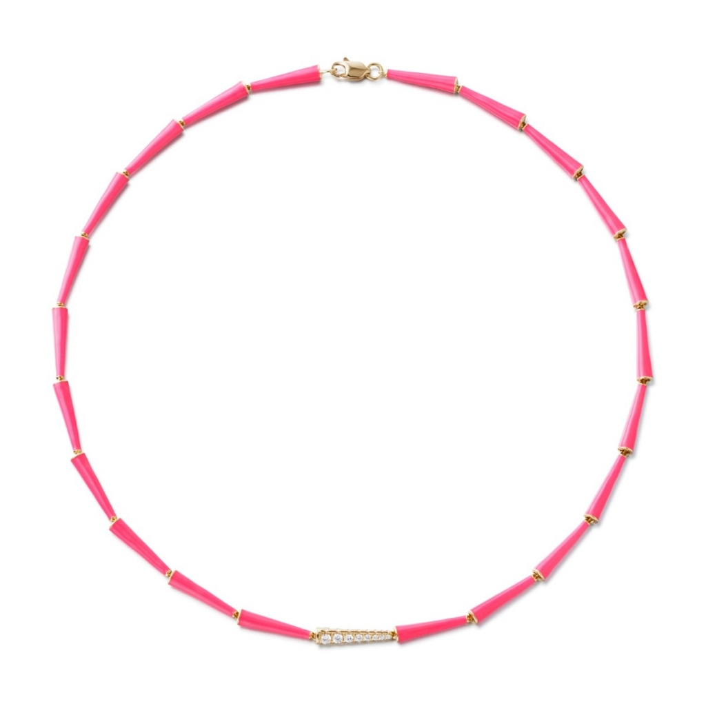 Lola link necklace in 18k yellow gold with hot pink enamel and 0.45 ct. t.w. diamonds, $6,450; email melissa@melissakayejewelry.com at Melissa Kaye for purchase