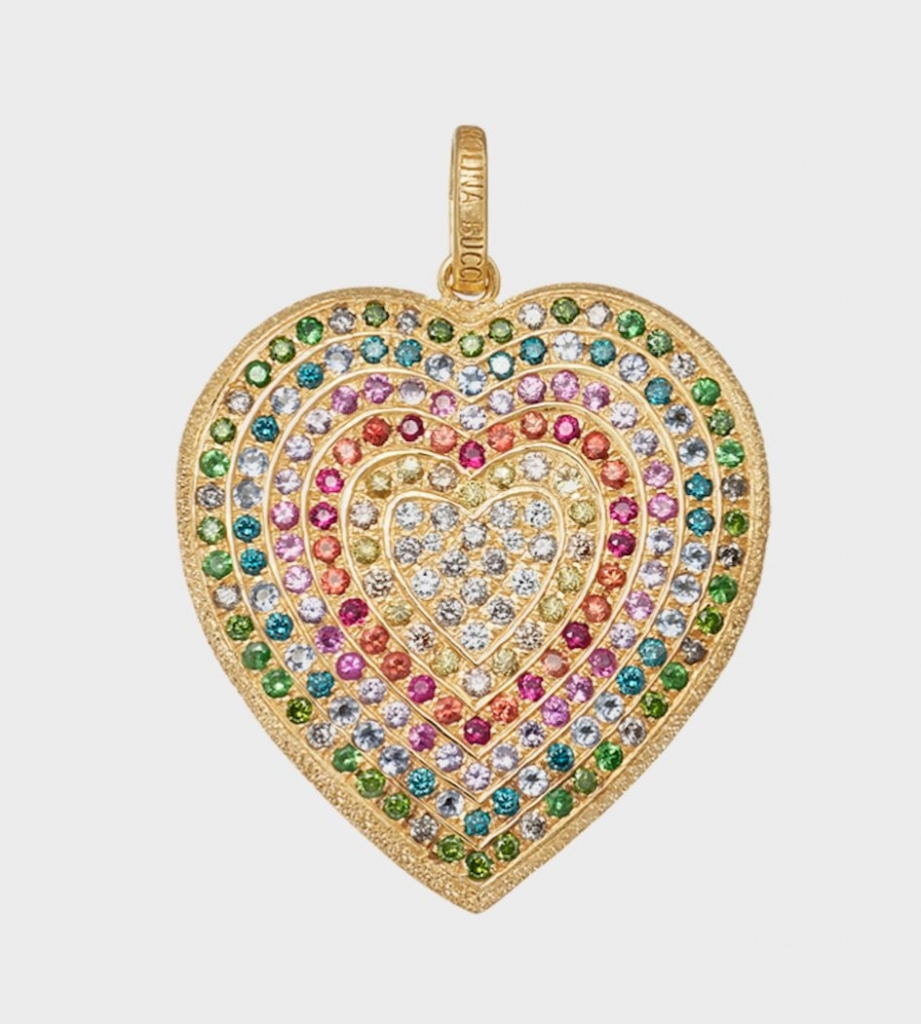 Heart pendant necklace in 18k rose gold with 1.60 cts. t.w. precious gems and 1.12 cts. t.w. diamonds on a Forte candy-inspired beaded gemstone necklace, $14,160 for the necklace as shown; Carolina Bucci