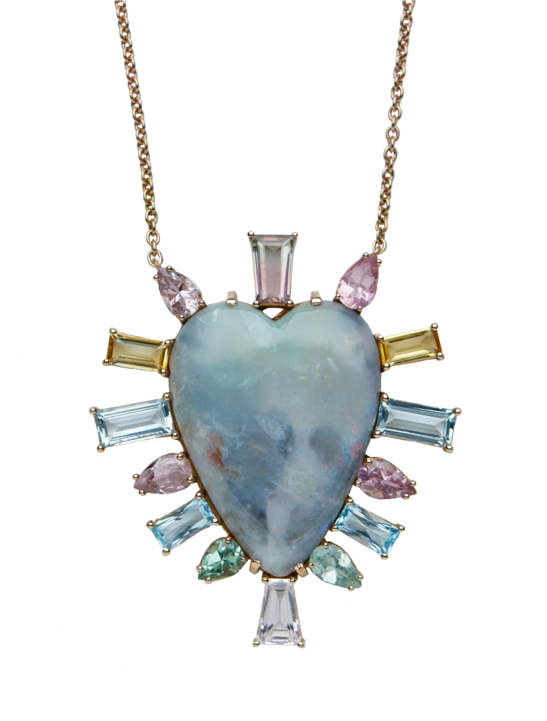 Heart necklace in 18k yellow gold with a 38 ct. heart-shape opal, 12.5 cts. t.w. baguette- and pear-shape tourmalines, $13,640; email info@christinaalexiou.com at Christina Alexiou for purchase.
