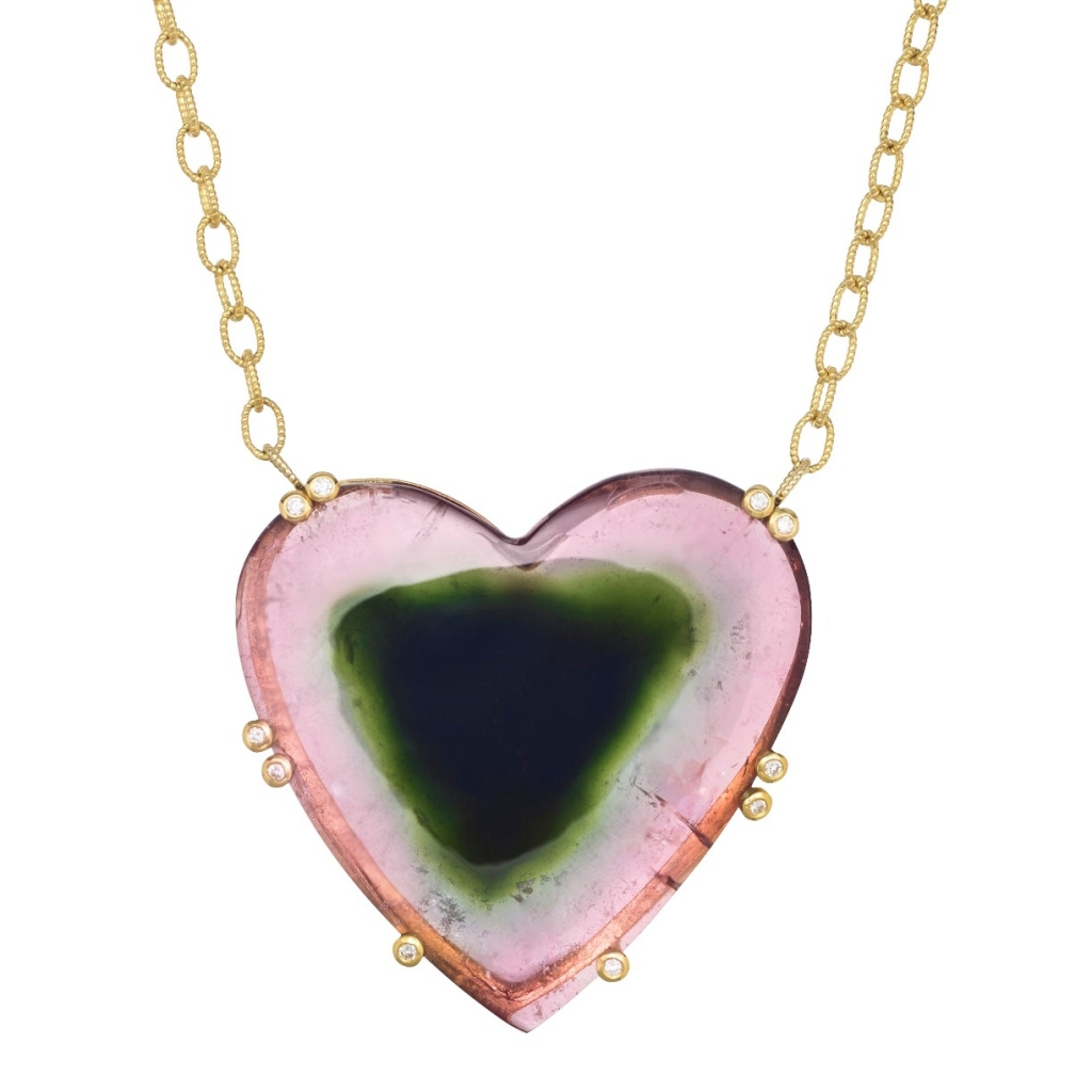 Heart pendant in 14k and 18k yellow gold with a 46 ct. watermelon tourmaline and 0.10 ct. t.w. diamonds, $14,950; email joonhanjewelry@gmail.com at Joon Han for purchase