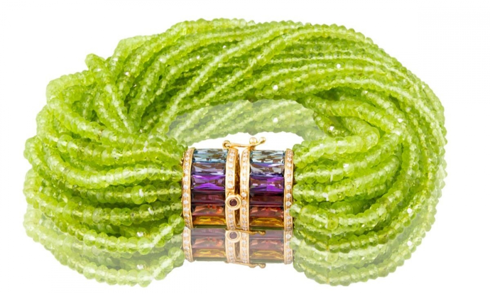 Capri collection bracelet in 18k rose gold with 17 strands of peridot, 9.25 cts. t.w. mixed gemstones, and 0.31 ct. t.w. diamonds, $7,990; Bellarri, inquiries to customerservice@bellarri.com