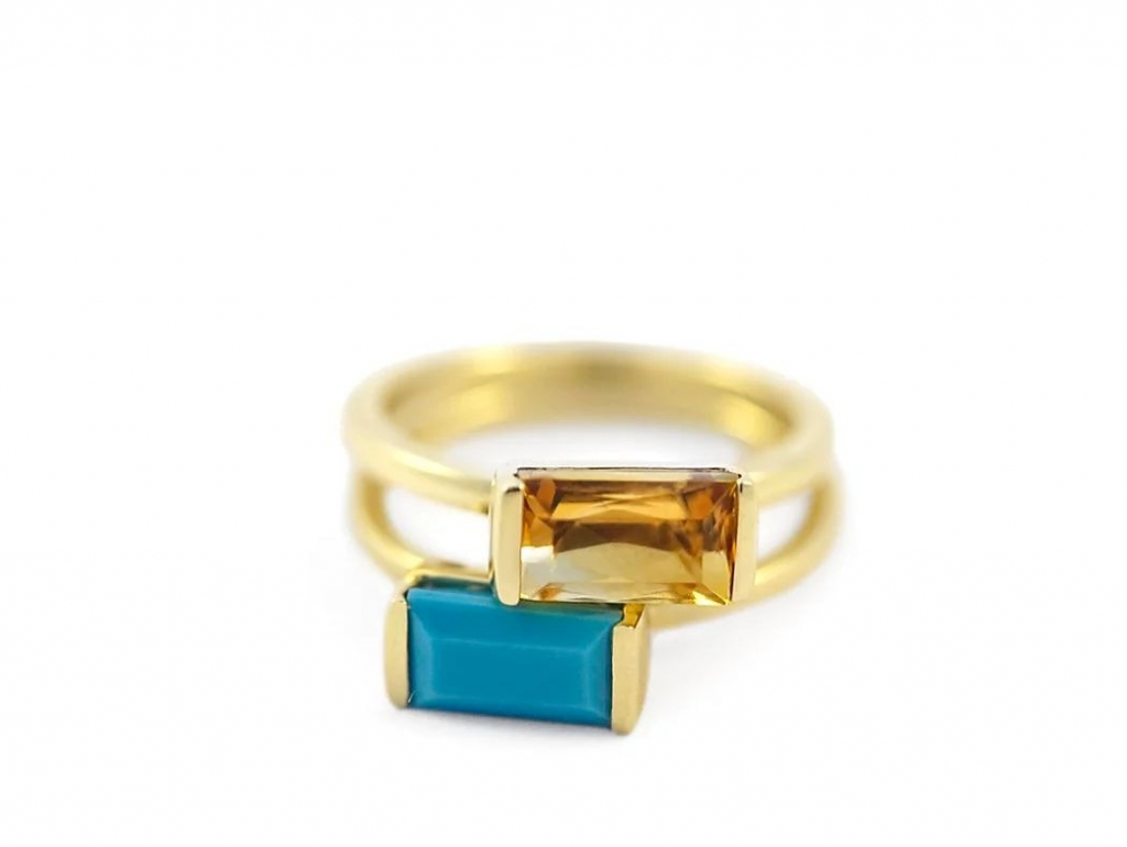 Bon Bon ring in 14k yellow gold with turquoise or citrine, $550 apiece; available online at Emily Kuvin