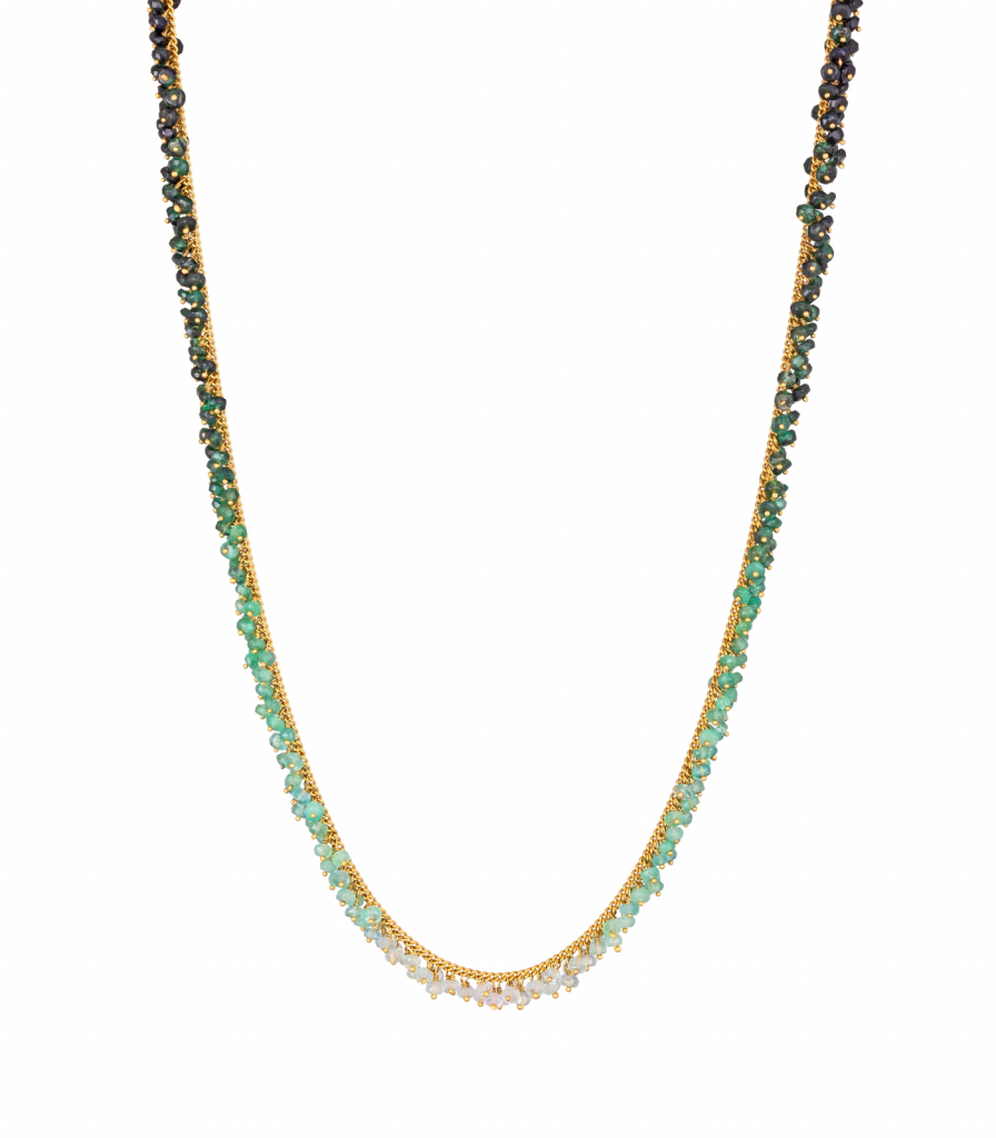 Ombré Full Row necklace in gold vermeil curb chain with hand-beaded gradient tones of emeralds, £695; available online at Kate Wood Jewellery