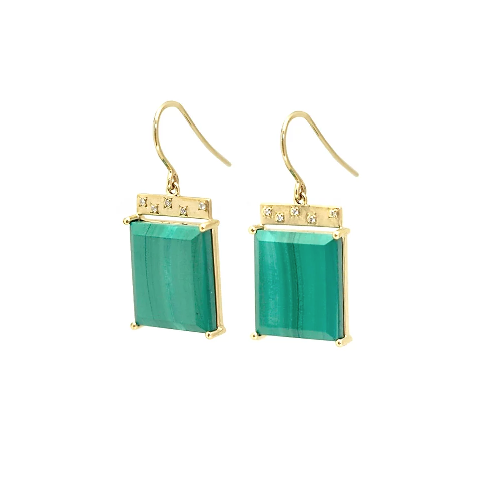 Malachite Tile earrings in 14k yellow gold with malachite and colorless diamonds, $1,280; available online at Emily Kuvin Jewelry