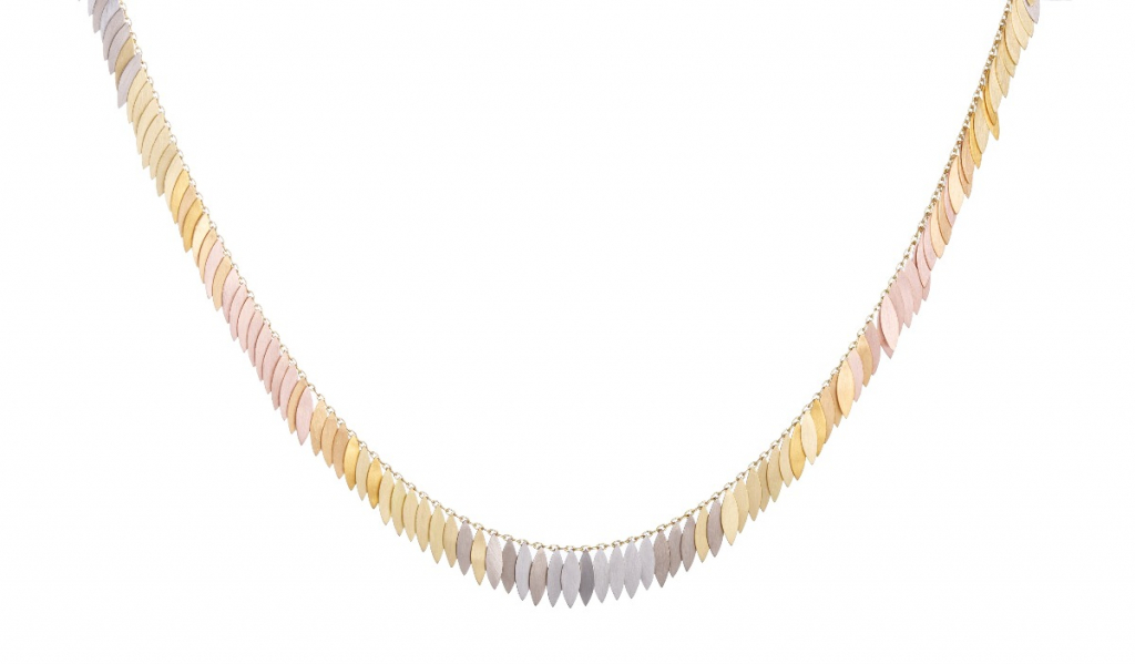 Rainbow Leaf Full necklace in 18k yellow, white, and rose gold; 24k gold; and platinum, £6,265; available online at Sia Taylor